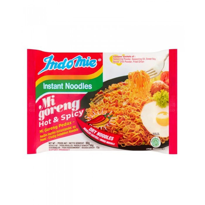 Mi Goreng Hot and Spicy Instant Noodles 80g. (Indomie)