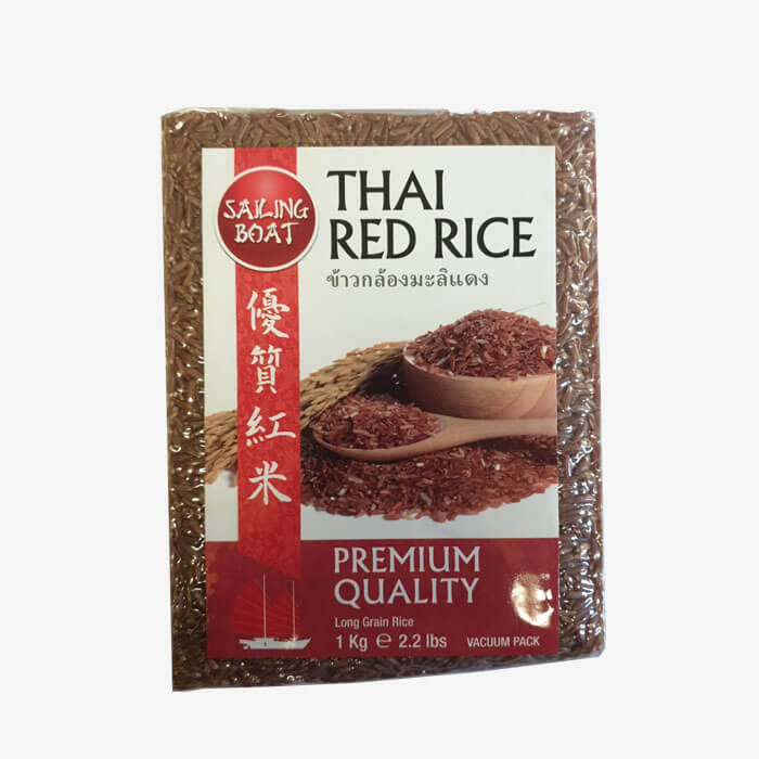 Brown Red Rice Vacuum Pack Thai Horn Mali 1kg. (Sailing Boat)