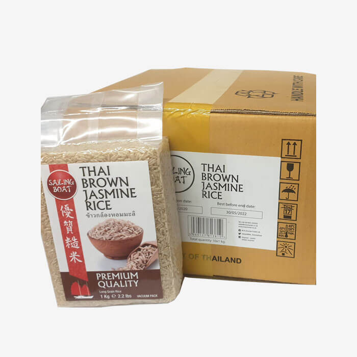 1 box Thai Brown Jasmine Rice (10 packs - 1kg. each) (Sailing Boat)